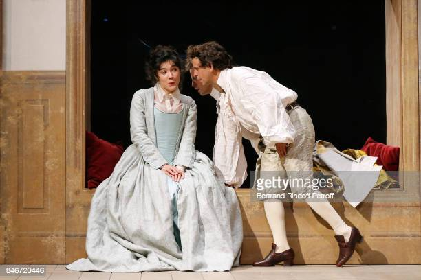 Victoire Belezy and Maxime d'Aboville perform in 'Les Jumeaux Venitiens' Press Theater Play at Theatre Hebertot on September 6 2017 in Paris France