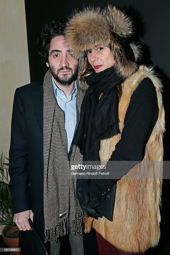 Victoire de Pourtales (R) and Benjamin Eymere arrive to the Etam Live Show Lingerie at Bourse du Commerce on February 26, 2013 in Paris, France.