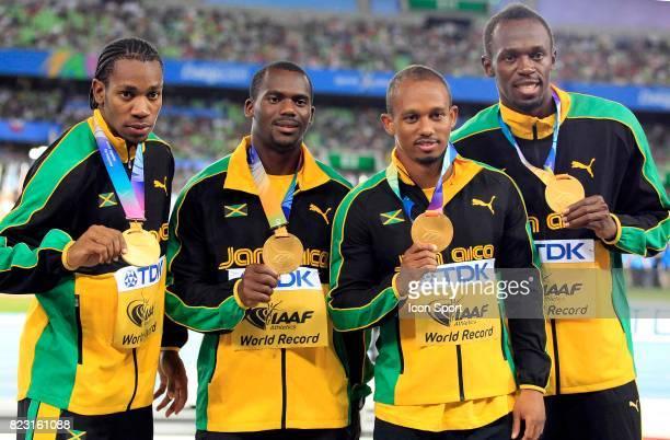 Victoire et record du monde Jamaique 4x100m Nesta Carter / Michael Frater / Yohan Blake / Usain Bolt Championnats du Monde Athletisme 2011 Daegu