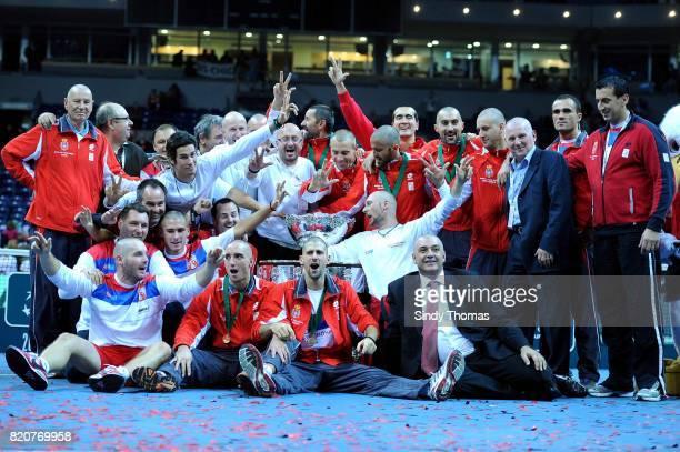 Victoire Serbie Nenad ZIMONJIC / TIPSAREVIC / Viktor TROICKI / Novak Djokovic / Bogdan Obradovic France / Serbie Finale Coupe Davis 2010 Belgrade...