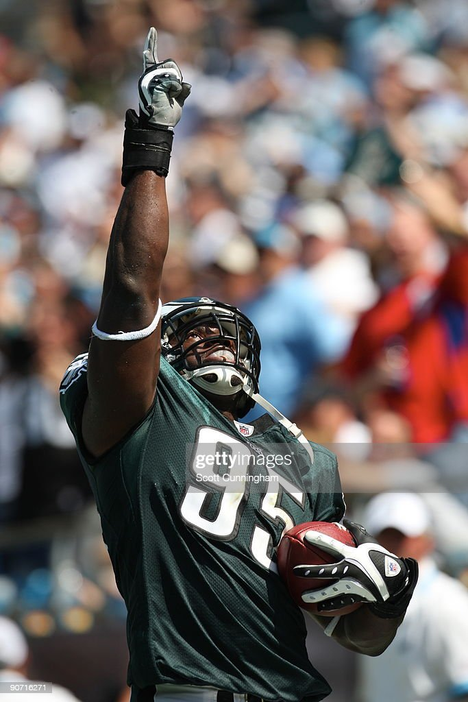 Victor Abiamiri #95 of the Philadelphia Eagles celebrates after scoring a touchdown against the Carolina Panthers at Bank Of America Stadium on September 13, 2009 in Charlotte, North Carolina.