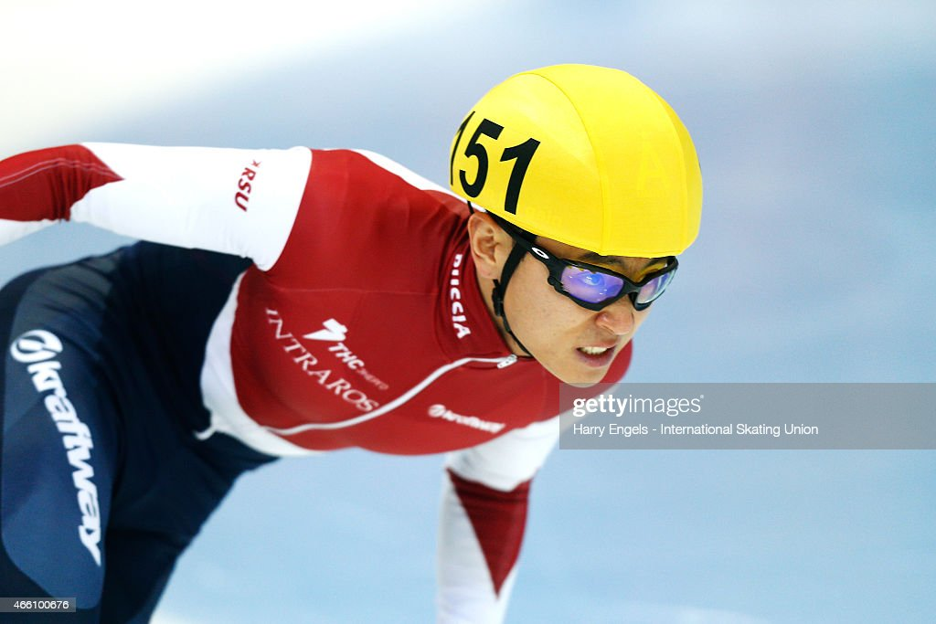 Victor An of Russia in action during the Men's 500m Heats on day one of the ISU World Short Track Speed Skating Championships at the Krylatskoe Speed Skating Centre on March 13, 2015 in Moscow, Russia.