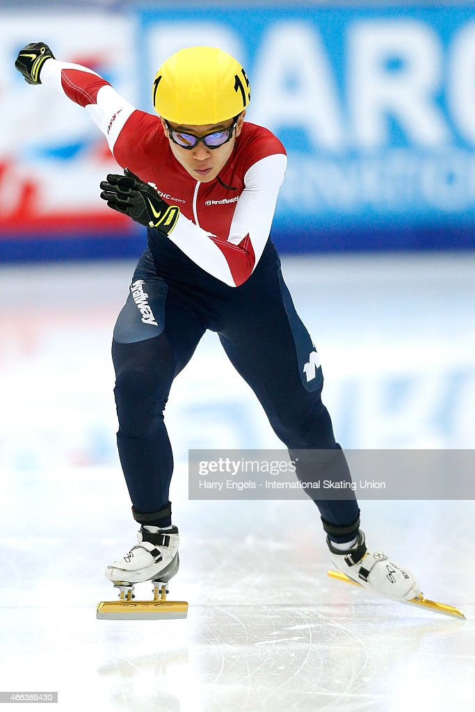 Victor An of Russia sprints off from the start during the Men's 1000m Final on day three of the ISU World Short Track Speed Skating Championships at the Krylatskoe Speed Skating Centre on March 15, 2015 in Moscow, Russia.