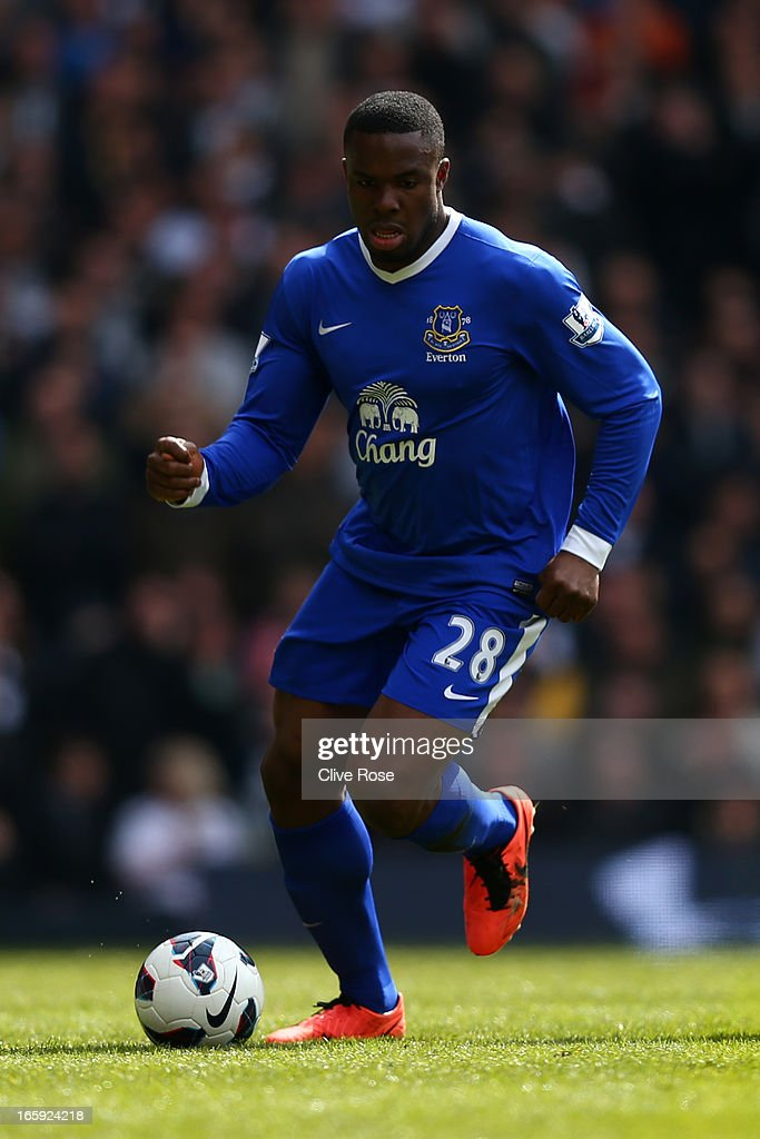 Victor Anichebe of Everton in action during the Barclays Premier League match between Tottenham Hotspur and Everton at White Hart Lane on April 7, 2013 in London, England.
