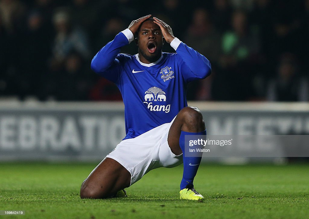 <a gi-track='captionPersonalityLinkClicked' href=/galleries/search?phrase=Victor+Anichebe&family=editorial&specificpeople=740464 ng-click='$event.stopPropagation()'>Victor Anichebe</a> of Everton reacts after a missed chance during the Barclays Premier League match between Southampton and Everton at St Mary's Stadium on January 21, 2013 in Southampton, England.