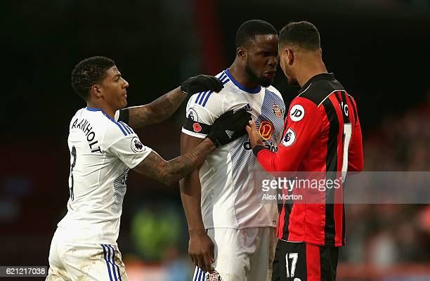 Victor Anichebe of Sunderland and Joshua King of AFC Bournemouth argue during the Premier League match between AFC Bournemouth and Sunderland at...