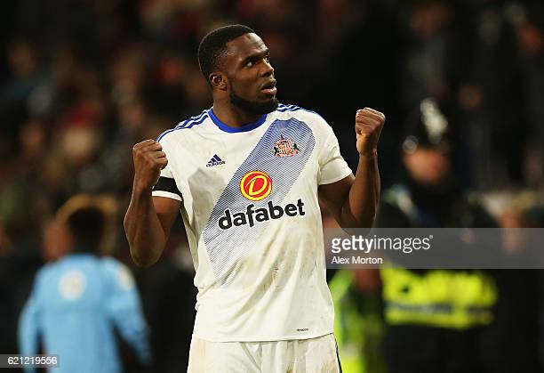 Victor Anichebe of Sunderland celebrates his sides win after the final whistle during the Premier League match between AFC Bournemouth and Sunderland...