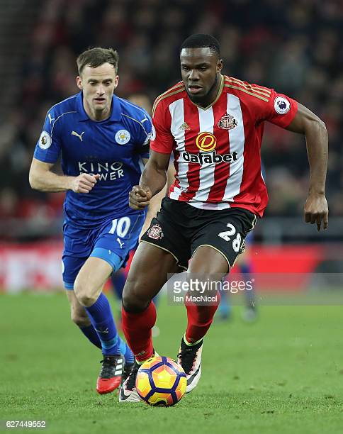 Victor Anichebe of Sunderland controls the ball during the Premier League match between Sunderland and Leicester City at Stadium of Light on December...