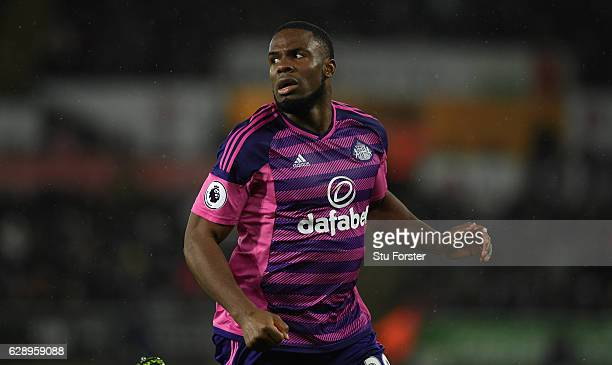 Victor Anichebe of Sunderland in action during the Premier League match between Swansea City and Sunderland at Liberty Stadium on December 10 2016 in...