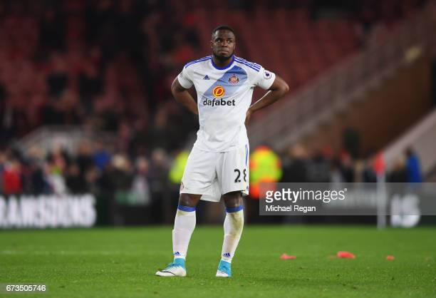 Victor Anichebe of Sunderland looks dejected during the Premier League match between Middlesbrough and Sunderland at the Riverside Stadium on April...