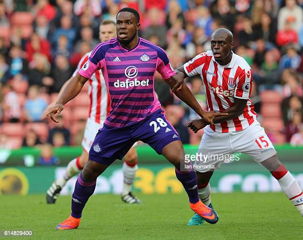 Victor Anichebe of Sunderland marked by Bruno Martins Indi of Stoke during the Premier League match between Stoke City and Sunderland at the bet 365...