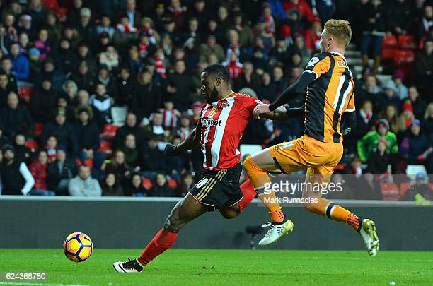 Victor Anichebe of Sunderland scores his sides third goal during the Premier League match between Sunderland and Hull City at Stadium of Light on...