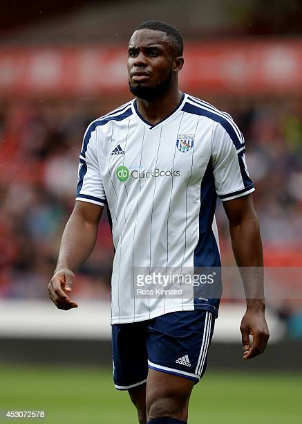 Victor Anichebe of WBA during the pre season friendly match between Nottingham Forest and West Bromwich Albion at the City Ground on August 2 2014 in...