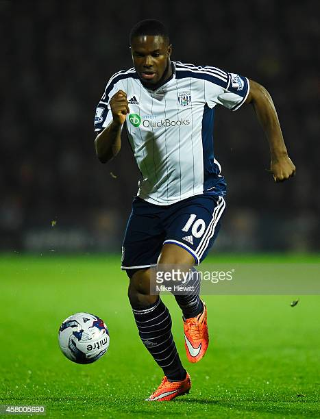 Victor Anichebe of West Brom in action during the Capital One Cup Fourth Round between Bournemouth and West Bromwich Albion at Goldsands Stadium on...