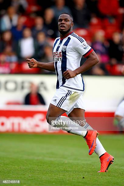 Victor Anichebe of West Brom in action during the PreSeason Friendly between Walsall and West Bromwich Albion at Banks' Stadium on July 28 2015 in...