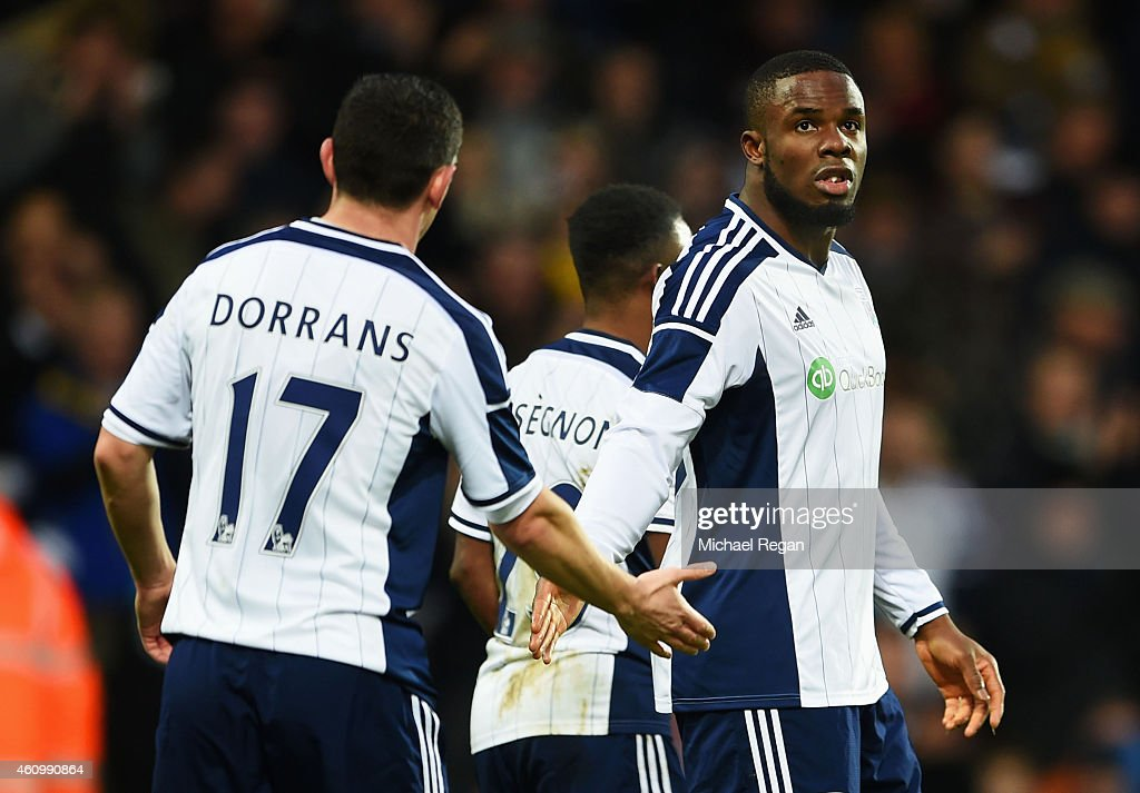 Victor Anichebe of West Bromwich Albion celebrates with Graham Dorrans as he scores their second goal during the FA Cup Third Round match between...