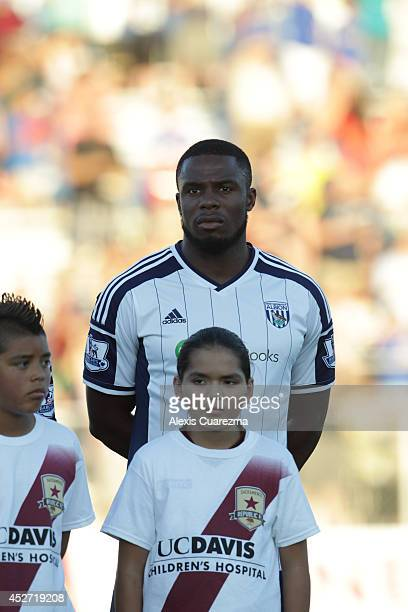 Victor Anichebe of West Bromwich Albion during the singing of the national anthem during the friendly match between West Bromwich Albion and...