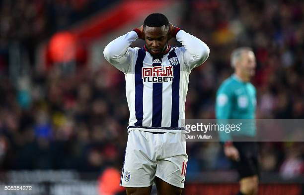 Victor Anichebe of West Bromwich Albion reacts after missing a shot at goal during the Barclays Premier League match between Southampton and West...