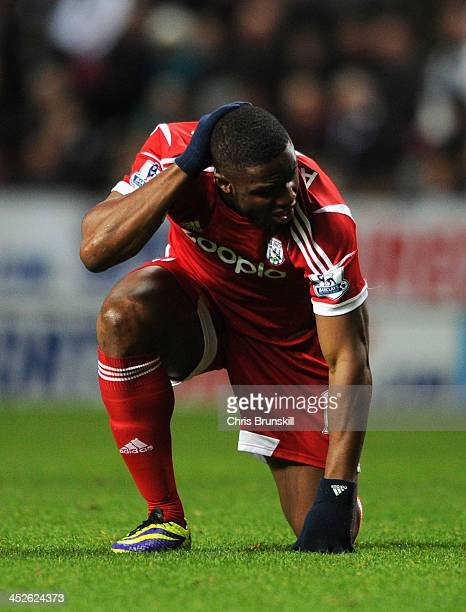 Victor Anichebe of West Bromwich Albion reacts during the Barclays Premier League match between Newcastle United and West Bromwich Albion at St...