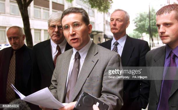 Victor Barker talks to journalists after he and other members of the familes of victims of the Omagh bomb met the Home Secretary * In a halfhour...
