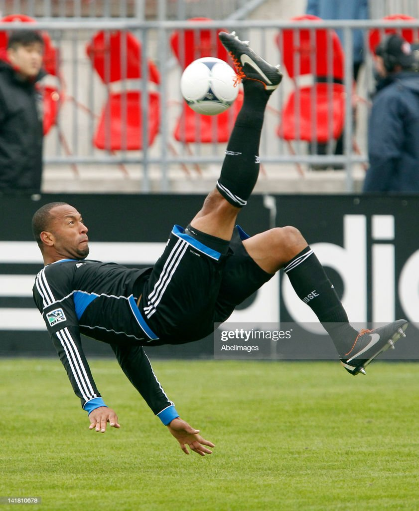 Victor Bernardez of San Jose Earthquakes bicycle kicks the ball against against Toronto FC in MLS action at BMO Field March 24 2012 in Toronto...