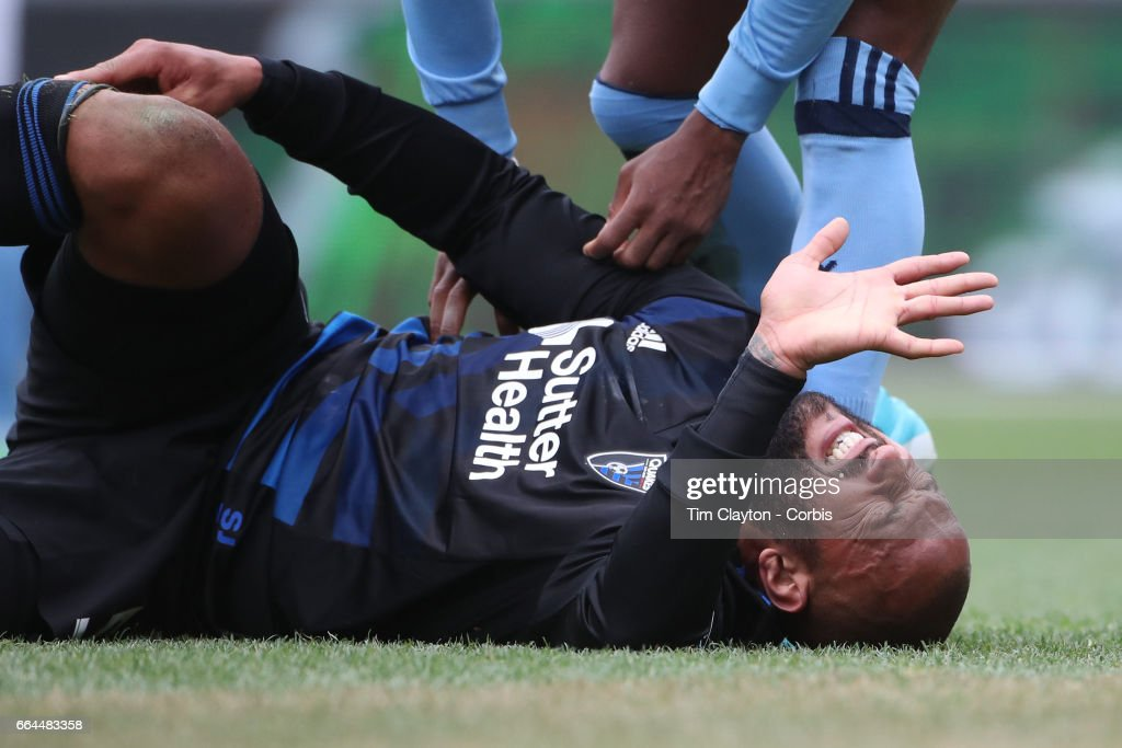 Victor Bernardez #5 of San Jose Earthquakes reacts after a challenge from Rodney Wallace #23 of New York City FC in action during the New York City FC Vs San Jose Earthquakes regular season MLS game at Yankee Stadium on April 1, 2017 in New York City.