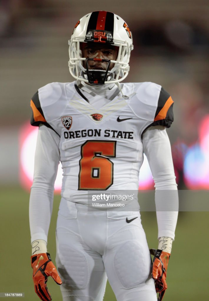 Victor Bolden #6 of the Oregon State Beavers looks on during warm ups prior to the game against the Washington State Cougars at Martin Stadium on October 12, 2013 in Pullman, Washington.