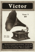 A Victor brand phonograph is shown in an advertisement circa 1908 The price listed for the phonograph model pictured is $60 Text at the bottom of the...