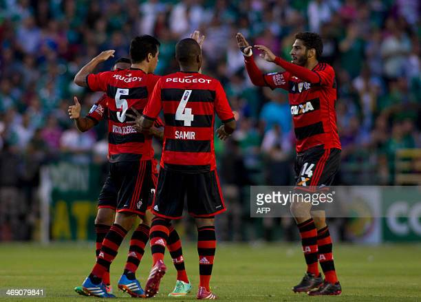 Victor Cáceres of Brazilian Flamengo celebrates his goal against Mexican Leon with teammates during their Libertadores Cup football match in Leon...
