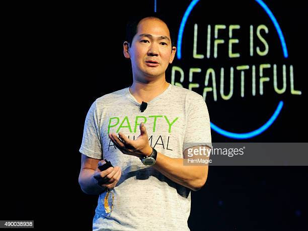 Internet Entrepreneur Tony Hsieh speaks onstage during day 1 of the 2015 Life Is Beautiful Festival on September 25 2015 in Las Vegas Nevada