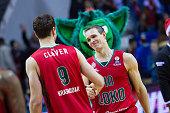 Victor Claver #9 of Lokomotiv Kuban Krasnodar and Sergey Bykov #10 of Lokomotiv Kuban Krasnodar after the Turkish Airlines Euroleague Basketball Top...