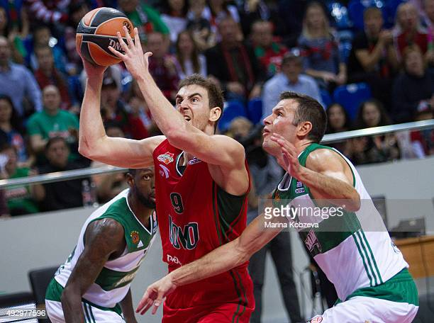 Victor Claver #9 of Lokomotiv Kuban Krasnodar competes with Antonis Fotsis #9 of Panathinaikos Athens during the Turkish Airlines Euroleague...