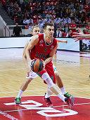 Victor Claver #9 of Lokomotiv Kuban Krasnodar in action during the Turkish Airlines Euroleague Basketball Regular Season Round 8 game between...