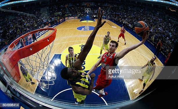 Victor Claver #9 of Lokomotiv Kuban Krasnodar in action during the Turkish Airlines Euroleague Basketball Top 16 Round 3 game between Fenerbahce...