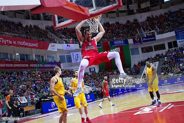Victor Claver #9 of Lokomotiv Kuban Krasnodar in action during the 20152016 Turkish Airlines Euroleague Basketball Playoffs Game 1 between Lokomotiv...