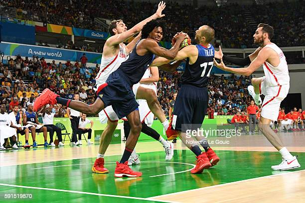 Victor Claver of Spain and Mickael Gelabale of France during Basketball game betwenn France and Spain on Olympic Games 2016 in Rio at Carioca Arena 1...