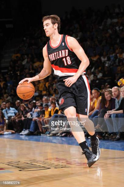 Victor Claver of the Portland Trail Blazers controls the ball against the Los Angeles Lakers during a preseason game at Citizens Business Bank Arena...