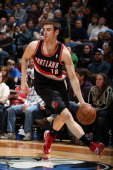 Victor Claver of the Portland Trail Blazers drives the ball during the game between the Minnesota Timberwolves and the Portland Trail Blazers on...