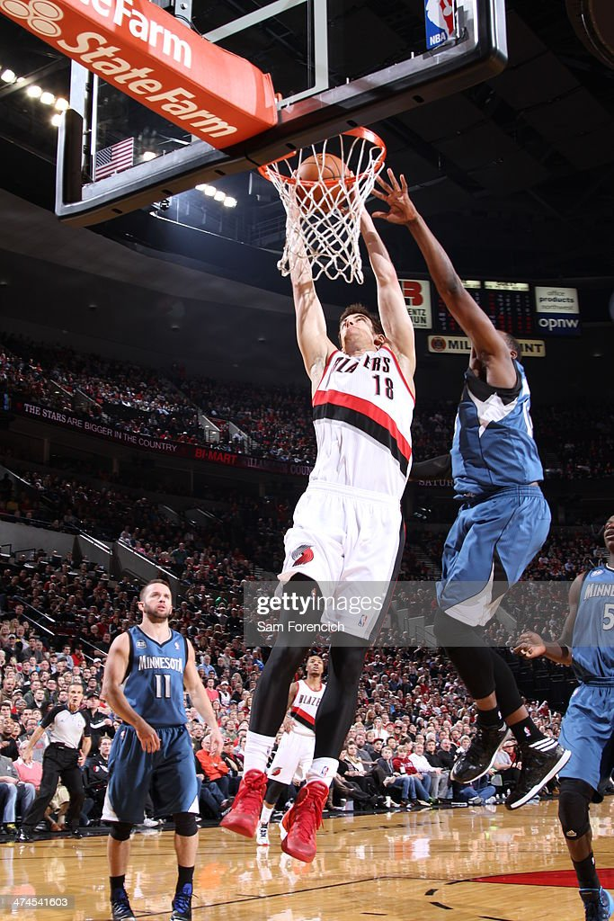 Victor Claver #18 of the Portland Trail Blazers dunks during a game against the Minnesota Timberwolves on February 23, 2014 at the Moda Center Arena in Portland, Oregon.