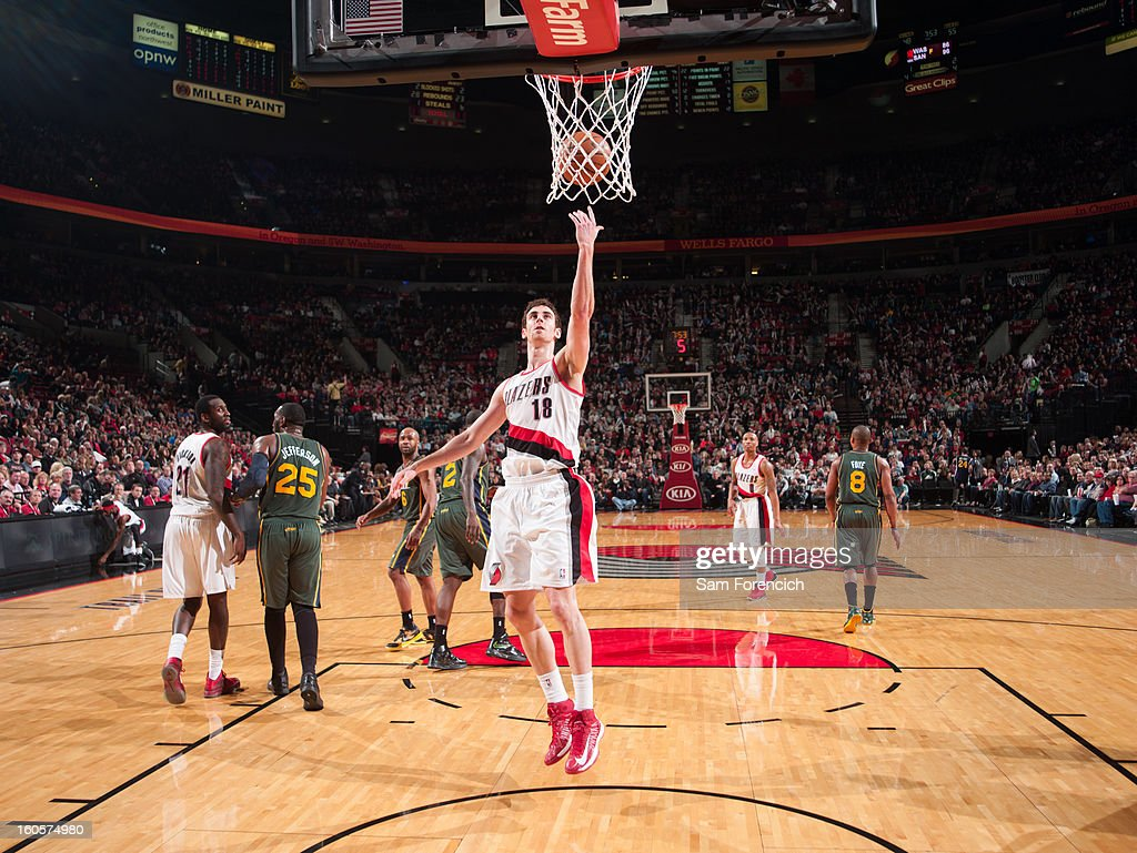 Victor Claver #18 of the Portland Trail Blazers goes to the basket during the game between the Utah Jazz and the Portland Trail Blazers on February 2, 2013 at the Rose Garden Arena in Portland, Oregon.
