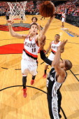 Victor Claver of the Portland Trail Blazers lays the ball in the basket in Game Three of the Western Conference Semifinals against the San Antonio...