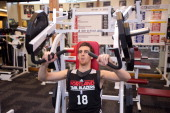 Victor Claver of the Portland Trail Blazers lifts weights prior to practice on October 30 2012 at the Trail Blazers Practice Facility in Tualatin...