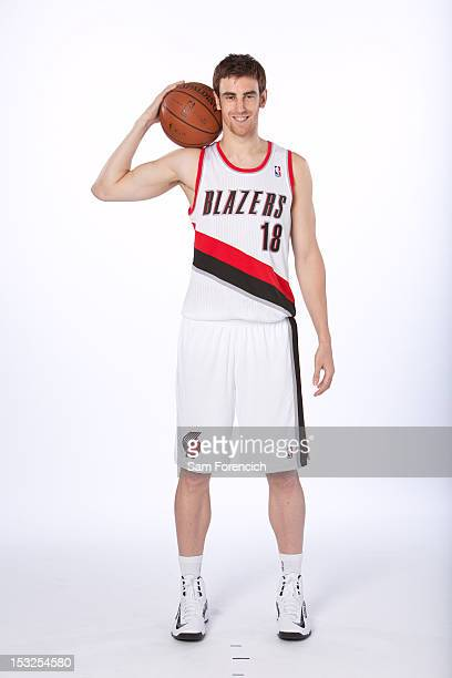 Victor Claver of the Portland Trail Blazers pose for a portrait during Portland Trail Blazers Media Day on October 1 2012 at the Rose Garden Arena in...