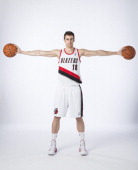 Victor Claver of the Portland Trail Blazers poses for photos during the teams annual Media Day September 30 2013 at the Moda Center in Portland...