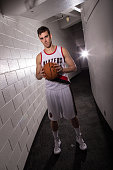 Victor Claver of the Portland Trail Blazers poses for photos during the teams annual Media Day September 29 2014 at the Veterans Memorial Coliseum in...