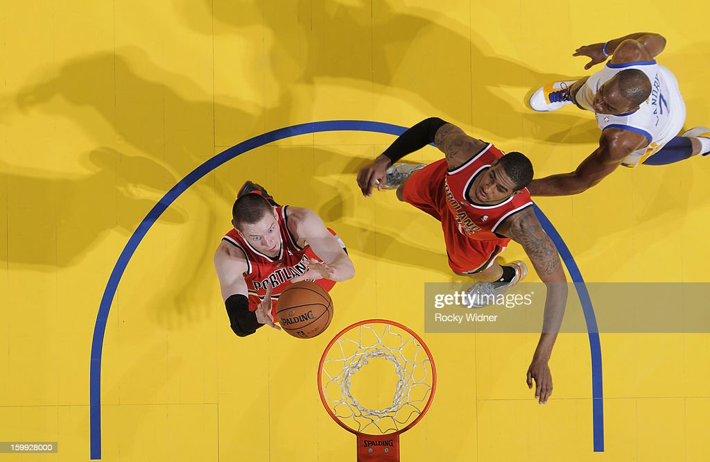 Victor Claver #18 of the Portland Trail Blazers rebounds against the Golden State Warriors on January 11, 2013 at Oracle Arena in Oakland, California.