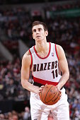 Victor Claver of the Portland Trail Blazers shoots a free throw during the game against the Los Angeles Clippers on April 16 2014 at the Moda Center...