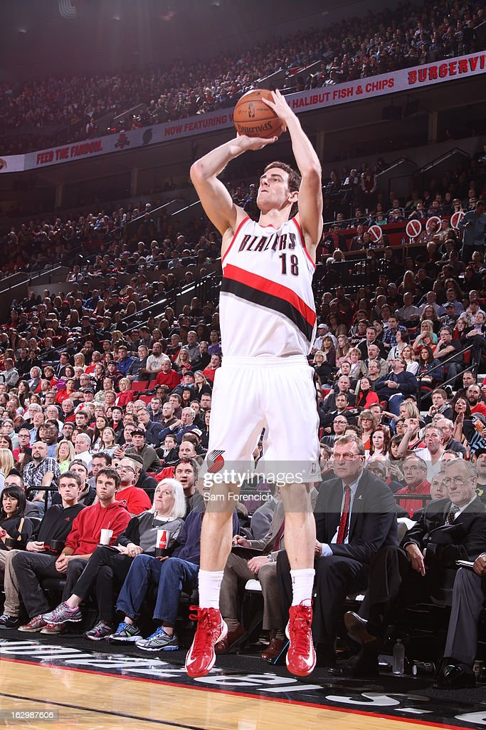 Victor Claver #18 of the Portland Trail Blazers shoots a three pointer against the Minnesota Timberwolves on March 2, 2013 at the Rose Garden Arena in Portland, Oregon.