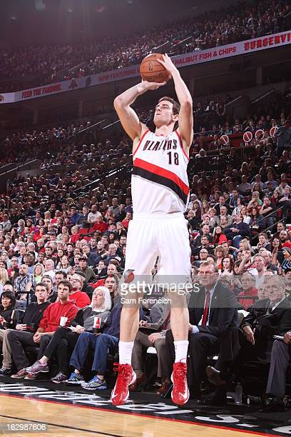 Victor Claver of the Portland Trail Blazers shoots a three pointer against the Minnesota Timberwolves on March 2 2013 at the Rose Garden Arena in...