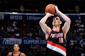 Victor Claver of the Portland Trail Blazers shoots against the Los Angeles Clippers during the game on October 24 2014 at the Staples Center in Los...